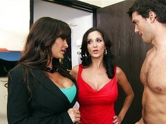 Brunette MILF Lisa Ann shares big dick