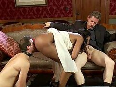 Bounded Cuckold Forced To See How His Ebony Girl Fucks another Cock