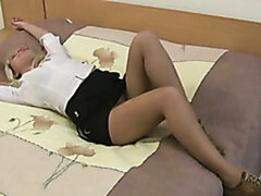 Getting rid of pantyhose spoiled and zealous blondie starts masturbating