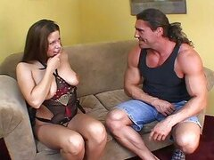 Busty chick fucked by muscled guy