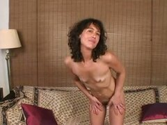 Cunt toy action with skinny brunette milf penelope jerking