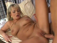 Blonde mom enjoys step son
