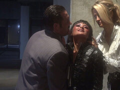 Chubby dude fucks Jessica Drake and Kaylani Lei in the underground parking lot