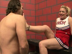 The dazzling blonde is a horny cheerleader eager to satisfy her fantasies in the locker room