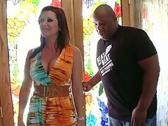 Horny Brunette MILF Raquel Devine Getting Facialized by a Black Cock
