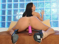 A brunette babe that loves being alone is solo again banging her beaver with her dildo
