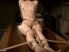 Mistress Kathia using pegs on her slavegirl's young tight body