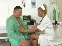 Charming doctor Chary Kiss seduces her patient and rides his dick