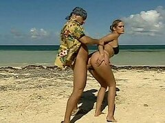 Busty Blondes Having An FFM Threesome At The Beach