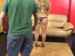 Lewd blonde momma opens sweet tight ass for hard pounding