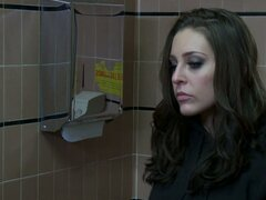 Dirty slut Gracie Glam fucks the guy in a toilet