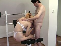 Horny blonde milf fucked by gym instructor