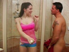 Hot ass babe fucking in the shower