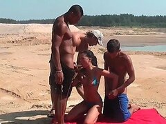 Teen Brunette Getting Gangbanged By Three fat Cocks At The Beach