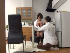 Nice Japanese babe in school uniform gets fucked in a kitchen