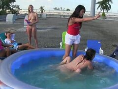 Naked sister pledges water wrestle to impress