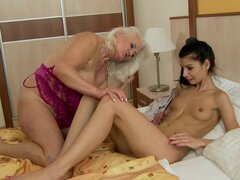 Girl on girl sex with old lady