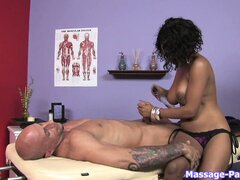 Busty ebony rubs up his white rod and gets on for a cock ride