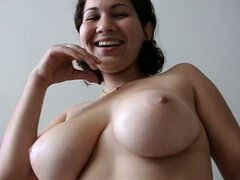 Big natural jugs of chubby brunette Helen are fucking amazing