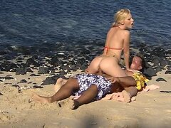 Slutty blonde Tarra White doggyfucke on the beach