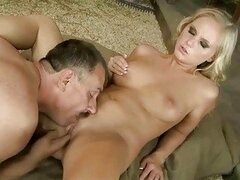 Young blonde fucking with old guy