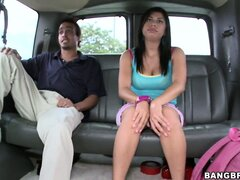 Sweet young teen Latina is convinced into showing her big tits to strangers