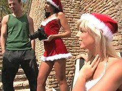 Santa's Little Helpers Have An Outdoor Group Sex With Big Cocks