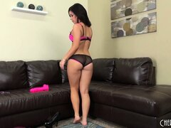 Perky brunette Belle Noire gives a live show and does a striptease