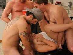 Plumper blonde gangbanged by dirty d and crew
