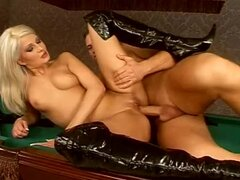 Horny blonde in high boots gets fucked on a billiard table