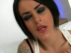 Shameless brunette rockstar gagging for huge cocks