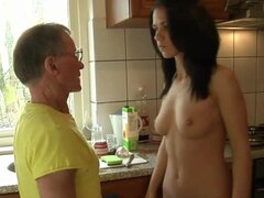 Hard and big old cock drils deep a tall brunette young girl
