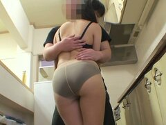 Attractive looking whore Nagisa Takatsu is fucked hard in a kitchen by her landlord