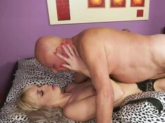 Old Fart Eating and Fucking Blonde Teen Alexa Wild's Shaved Pierced Cunt