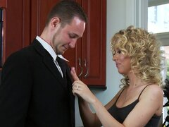 Curly hair blonde in stockings fucked