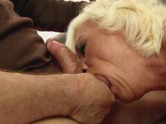 Blonde granny Orhidea gets her ass fucked and filled with jizz