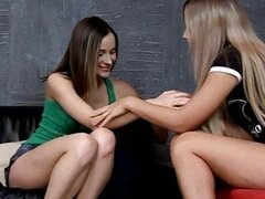 Lovely lesbians kissing and fingering pussy and having lesbian sex