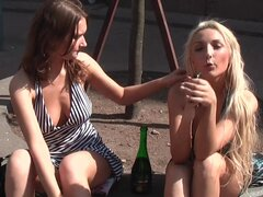 Crazy party featuring sexy lesbian orgy of Alice Miller