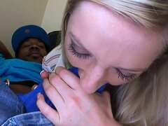 Blonde nympho moans in sweet agony as she�s impaled by a BBC
