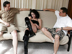 Young canadian hooker Roxie in threesome