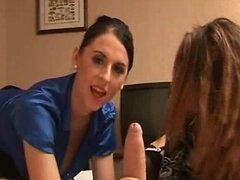 2 sexy babes give guy handjob on hotel room