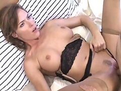 Fingering and Fucking a Hot Brunette MILF in Lingerie