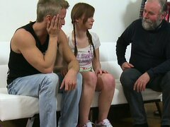Sexy blonde teen Miriam and her boyfriend set up a hot threesome with an older guy