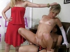 Girls strip down and strapon fucked