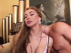 Bald guy has fun with sexy blonde shemale in a the hotel room. Hot video
