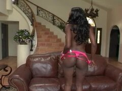 Sexy ebony slut loving this big cock right here