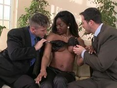 Ebony cutie Jasmine gets two white cocks to play with