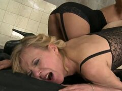 Dirty lesbian scene with fetish elements with old mature bitch Cindy Hope with hairy smelly vagina and young beautiful pornstar Lili, who looks great! Enjoy this old-young video!