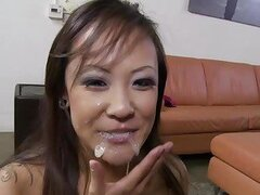 Jandi Lin takes a load on her face