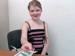 A pear shaped peachy teen accepts some money for her posterior to be toyed with